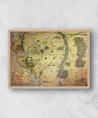 Lord Of The Rings Map Giclee Art Print - A4 - Wooden Frame chez Casa Décoration