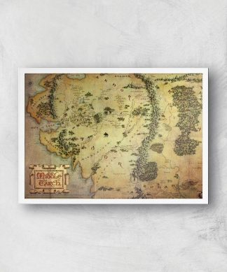 Lord Of The Rings Map Giclee Art Print - A3 - White Frame chez Casa Décoration