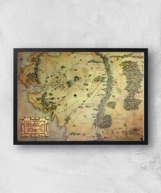 Lord Of The Rings Map Giclee Art Print - A3 - Black Frame chez Casa Décoration