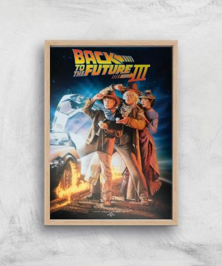 Back To The Future Part 3 Giclee Art Print - A4 - Wooden Frame chez Casa Décoration
