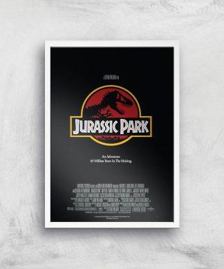 Jurassic Park Giclee Art Print - A4 - White Frame chez Casa Décoration