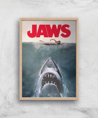 Jaws Giclee Art Print - A3 - Wooden Frame chez Casa Décoration