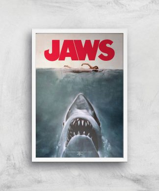 Jaws Giclee Art Print - A2 - White Frame chez Casa Décoration