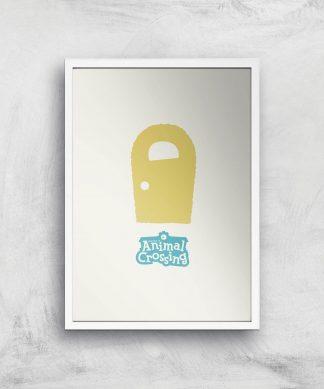 Nintendo Animal Crossing Yellow Door Art Print - A4 - White Frame chez Casa Décoration