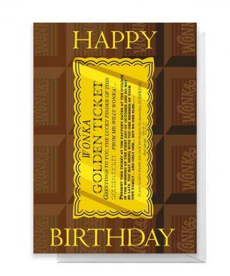Willy Wonka Golden Ticket Birthday Greetings Card - Standard Card chez Casa Décoration