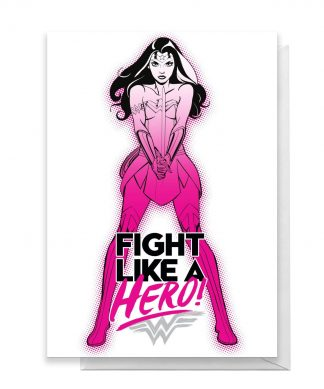 Wonder Woman Get Well Fight Like A Hero Greetings Card - Standard Card chez Casa Décoration