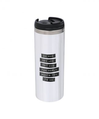 The Motivated Type Be Who You Are Stainless Steel Thermo Travel Mug - Metallic Finish chez Casa Décoration