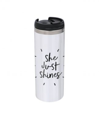 The Motivated Type She Just Shines Stainless Steel Thermo Travel Mug - Metallic Finish chez Casa Décoration