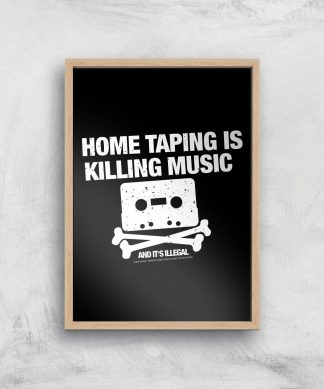 Home Taping Is Killing Music Giclee Art Print - A4 - Wooden Frame chez Casa Décoration