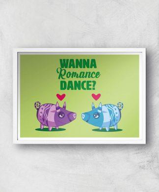Viva Pinata Wanna Romance Dance Pig Art Print Giclee Art Print - A3 - White Frame chez Casa Décoration