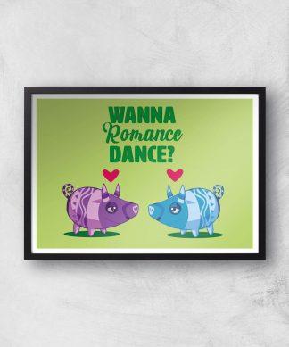 Viva Pinata Wanna Romance Dance Pig Art Print Giclee Art Print - A2 - Black Frame chez Casa Décoration