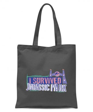 Jurassic Park I Survived Jurassic Park Tote Bag - Grey chez Casa Décoration