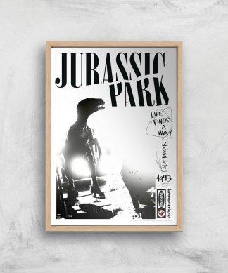Poster Fine Art Jurassic Park Life Finds A Way - A4 - Wooden Frame chez Casa Décoration
