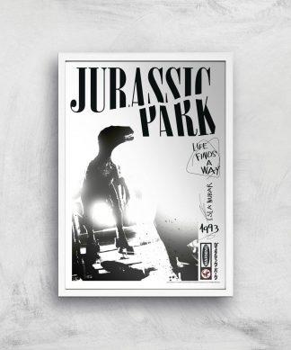 Poster Fine Art Jurassic Park Life Finds A Way - A4 - White Frame chez Casa Décoration