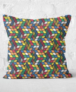 Repeat Rubik's Cube Pattern Cushion Square Cushion - 50x50cm - Soft Touch chez Casa Décoration