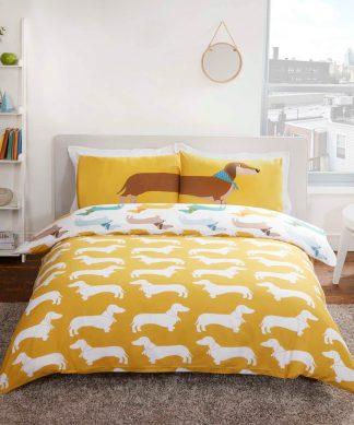 Sausage Dog Duvet Cover Set - Multi - Single chez Casa Décoration