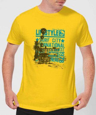Surf City Men's T-Shirt - Yellow - XS - Citron chez Casa Décoration