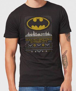 DC Seasons Greetings From Gotham Men's Christmas T-Shirt - Black - XS chez Casa Décoration