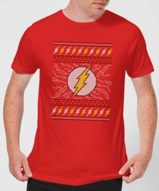 DC Flash Knit Men's Christmas T-Shirt - Red - XS - Rouge chez Casa Décoration