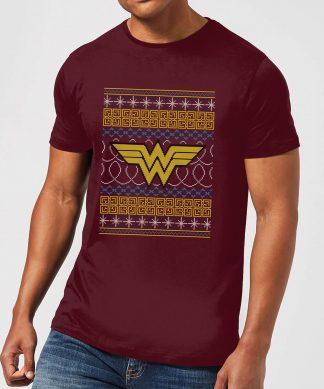 DC Wonder Woman Knit Men's Christmas T-Shirt - Burgundy - XS - Burgundy chez Casa Décoration