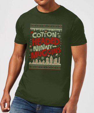 Elf Cotton-Headed-Ninny-Muggins Knit Men's Christmas T-Shirt - Forest Green - XS chez Casa Décoration