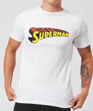 T-Shirt Homme Logo Superman Craquelé DC Comics - Blanc - XS - Blanc chez Casa Décoration