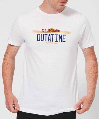 T-Shirt Homme Retour vers le Futur - Plaque Immatriculation Outatime - Blanc - XS chez Casa Décoration