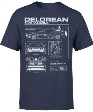 T-Shirt Homme Retour vers le Futur - Schéma de la DeLorean - Bleu Marine - XS - Navy chez Casa Décoration