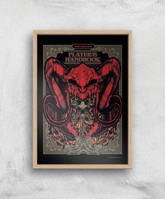 Donjons & Dragons Players Handbook Giclee Art Print - A4 - Wooden Frame chez Casa Décoration
