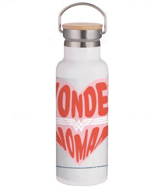 Wonder Woman Heart Portable Insulated Water Bottle - White chez Casa Décoration