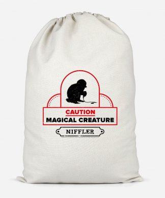 Caution Magical Creature Cotton Storage Bag - Small chez Casa Décoration