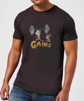T-Shirt Homme La Famille Pierrafeu Bamm-Bamm Muscu - Effet Abîmé - Noir - XS - Noir chez Casa Décoration