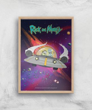Rick and Morty Rocket Adventure Giclee Art Print - A4 - Wooden Frame chez Casa Décoration