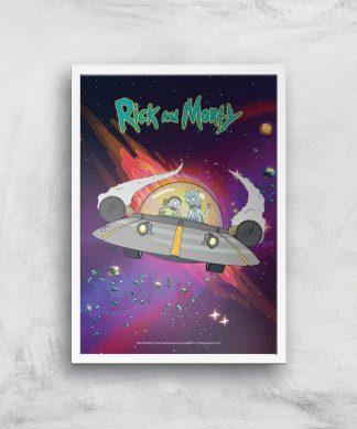 Rick and Morty Rocket Adventure Giclee Art Print - A4 - White Frame chez Casa Décoration