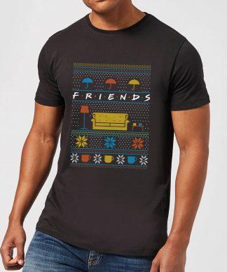 Friends Sofa Knit Men's Christmas T-Shirt - Black - XS chez Casa Décoration
