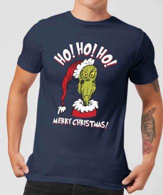 T-Shirt de Noël Homme Le Grinch - Ho Ho Ho - Bleu Marine - XS chez Casa Décoration