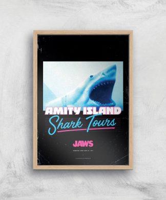 Les Dents de la Mer Amity Island Shark Tours Affiche - A2 - Wooden Frame chez Casa Décoration