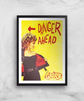 Grease Danger Road Affiche - A3 - Black Frame chez Casa Décoration
