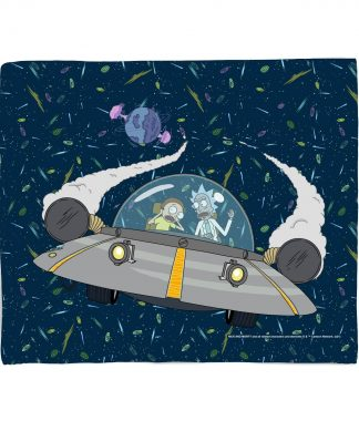 Rick and Morty Flying Space Adventure Fleece Blanket - M chez Casa Décoration