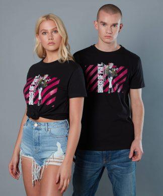 T-shirt Harley Quinn Pink Stripes Birds of Prey - Noir - Unisexe - XS chez Casa Décoration