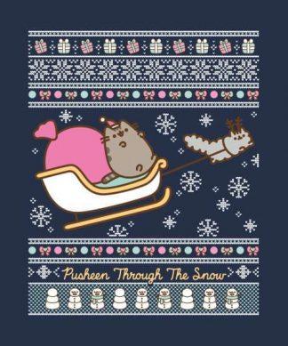 Pusheen Through The Snow Men's Christmas T-Shirt - Navy - XS chez Casa Décoration
