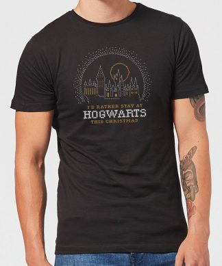 Harry Potter I'd Rather Stay At Hogwarts Men's Christmas T-Shirt - Black - XS - Noir chez Casa Décoration