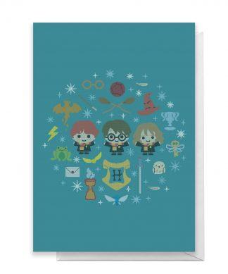 Harry Potter Trio Wreath Greetings Card - Standard Card chez Casa Décoration