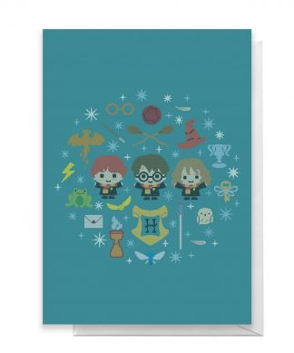 Harry Potter Trio Wreath Greetings Card - Large Card chez Casa Décoration