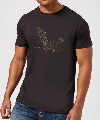 Harry Potter Hedwig Broom Gold Men's T-Shirt - Black - XS - Noir chez Casa Décoration