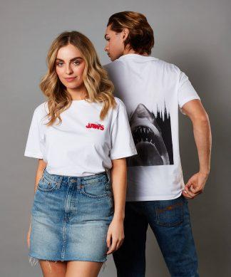 T-shirt Jaws - Unisex - Blanc - XS - Blanc chez Casa Décoration