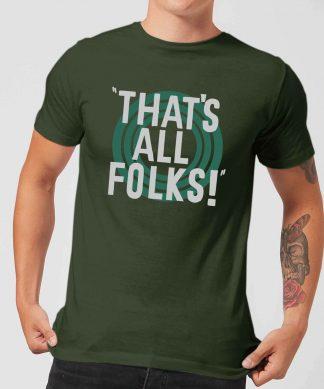 T-Shirt Homme That's All Folks ! Looney Tunes - Vert Foncé - XS chez Casa Décoration