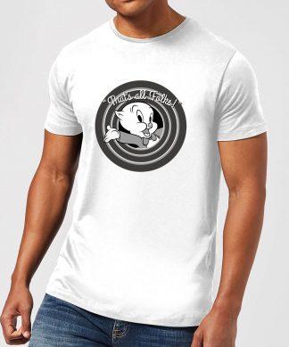 T-Shirt Homme That's All Folks ! Porky Pig Looney Tunes - Blanc - XS - Blanc chez Casa Décoration