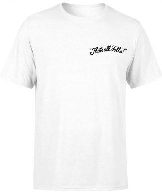 T-shirt Looney Tunes That's All Folks - Brodé - Blanc - Unisexe - XS chez Casa Décoration