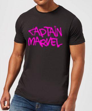 Captain Marvel Spray Text Men's T-Shirt - Black - XS - Noir chez Casa Décoration